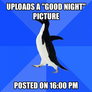 "uploads a ""good night"" picture"