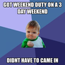 Usaf weekend duty